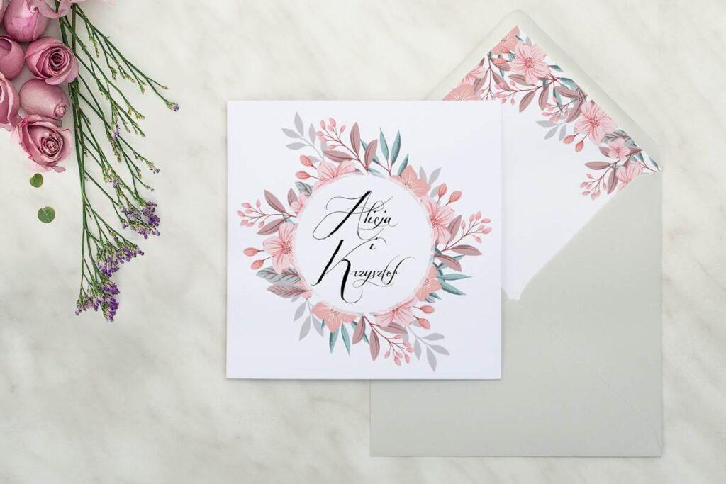 zaproszenie ślubne z wiankiem kwiatów