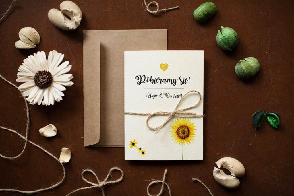 zaproszenie ślubne rustykalne ze słonecznikiem