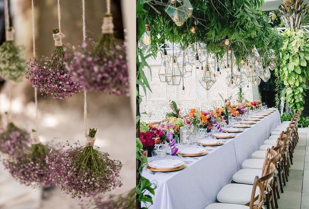 podwieszane dekoracje weselne